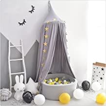 FLORICA Bed Canopy Mosquito Net Dome Princess Bed Canopy Kids Play Tent for Kids Baby Crib Cotton Height 94.9 inch/240cm (Grey)