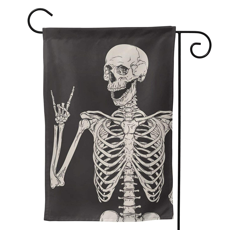 Halloween Skull Garden Flag Human Skeleton House Flag Vertical Double Sided Yard Outdoor Decor Party 12.5 X 18 Inch