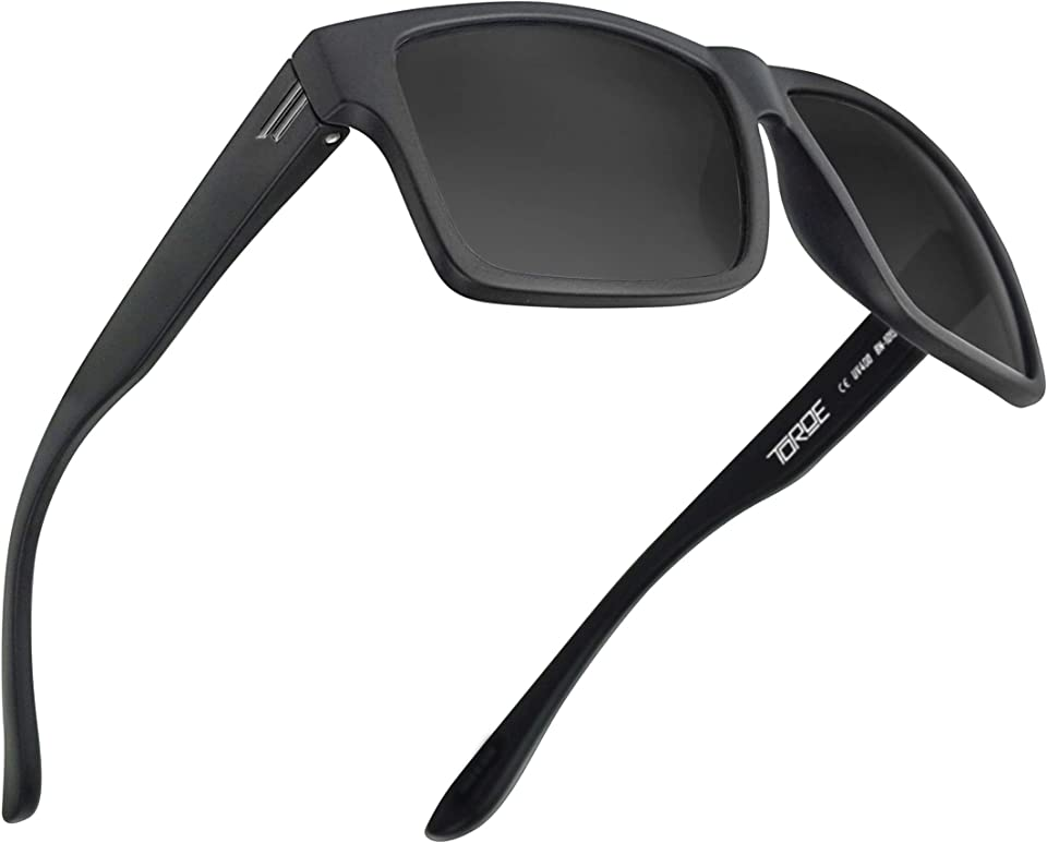 TR90 Square Frame Grade A Polarized Black Emblem Sunglasses with Anti Reflective Water Repellent Polycarbonate Lenses