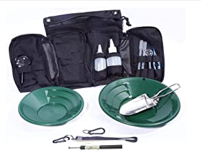 VAS 21 PC Green Prospectors Gold Panning Pan Essentials Set Kit   Molle Bag   2 Gold Pans   Adults   Kids   Beginners Too!   Equipment for Metal Detecting & Gold Panning (Green Gold Pans)