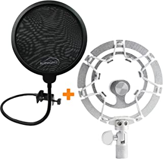AUPHONIX Pop Filter & Blue Yeti Shock Mount - Easy to fit | Delivers Perfect Voice Clarity & Professional Vibration Blocking | Ideal for Gamers & Gaming, Voiceover Artists, Podcasts & Podcasting