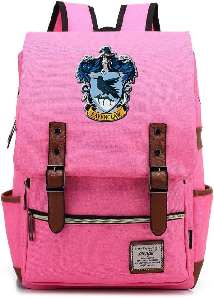 Mochila Casual Ravenclaw Mochila Harry P Bolsa de Viaje de Moda de la Universidad de Hogwarts Cremallera de Oro Medio Azul