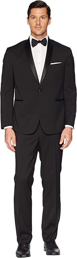"Stretch Slim Fit Shawl Collar 32"" Finished Bottom Tuxedo"