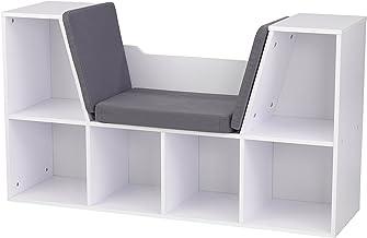 "KidKraft Bookcase with Reading Nook Toy, White, 46.46"" x 15.16"" x 5.04"""
