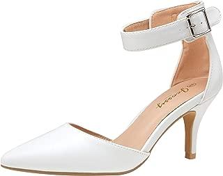 Women's Pumps IN3 Kitten Heels Ankle Strap Low Heel Pointed Mid Casual Dress Bridal Pump Wedding Shoes