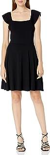 فستان نسائي من Three Dots مطبوع عليه Three Dots، AA5884 FLUTTER SLV مربع الرقبة فستان كاجوال
