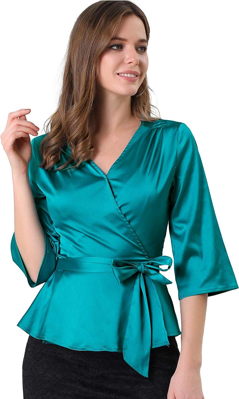 1930s Style Blouses, Shirts, Tops   Vintage Blouses Allegra K Womens Bow Tie Waist Satin 3/4 Sleeve Solid Color Wrap Peplum Blouse  AT vintagedancer.com