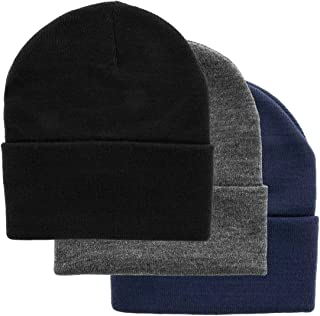 DG Hill Set of 3 Mens Warm Winter Hats, Navy Blue, Slate Gray & Black Beanie Hats, Pack of Soft Acrylic Caps, Cuff Beanie ...