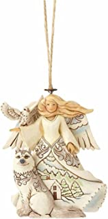 "Enesco Jim Shore Heartwood Creek White Woodland Angel with Husky Stone Resin, 4"" Hanging Ornament, Multicolor"