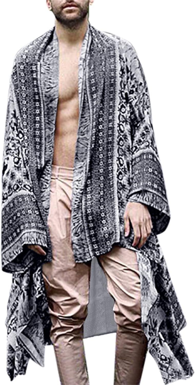 RAGEMALL Men Long Cardigan Loose Open Front Ruffle Shawl Collar Drape Cape Vintage Cloak
