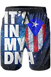 Mens Swim Trunks Puerto Rico Flag-Its in My DNA Quick Dry Beach Boardshort Men