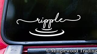 """Minglewood Trading White - RIPPLE 7"""" x 2.5"""" Vinyl Decal Sticker - Water Wave Zen Still - 20 COLOR OPTIONS"""