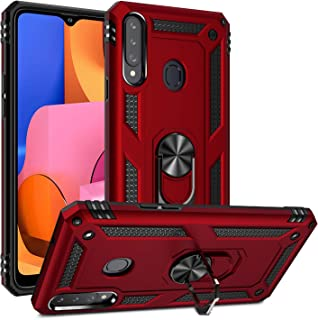 Newseego Compatible with Samsung Galaxy A20S Case, (Not Fit A20) Armor Dual Layer 2 in 1 and 360 Degree Rotating Metal Ring Holder Kickstand & Shock & Scratch Support Shockproof Hard Cover –Red