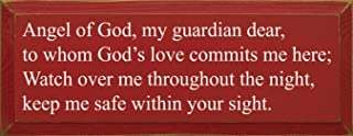 Sawdust City Wooden Sign - Angel of God, My Guardian Dear. (Red)