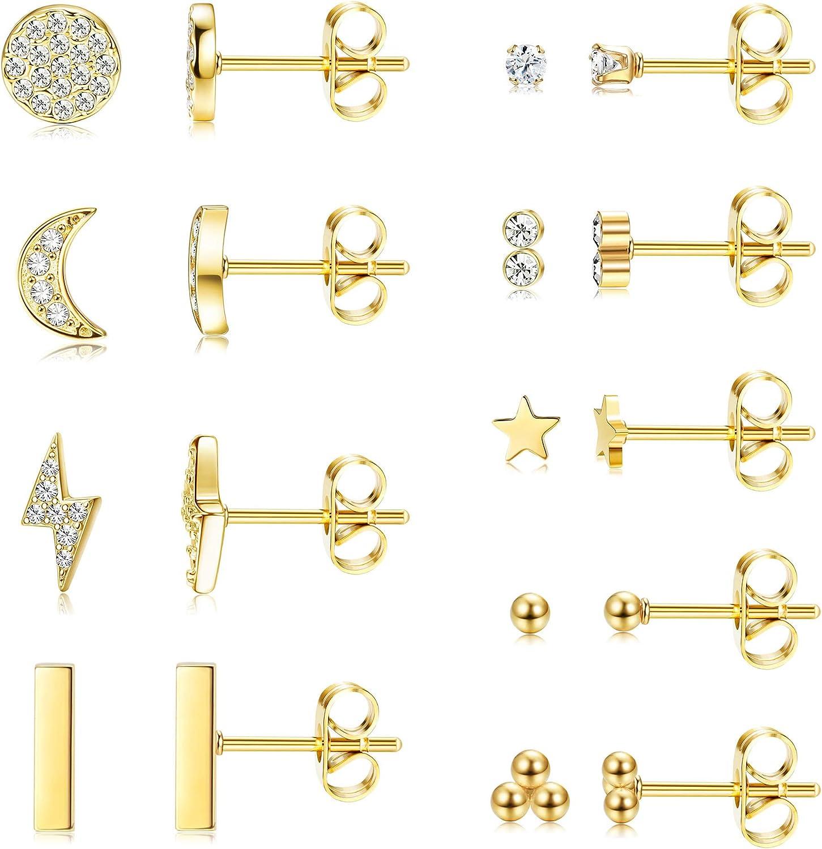 Udalyn 9 Pairs Stainless Steel Star Moon Stud Earrings for Women Men Cubic Zirconia Tiny Earrings Set