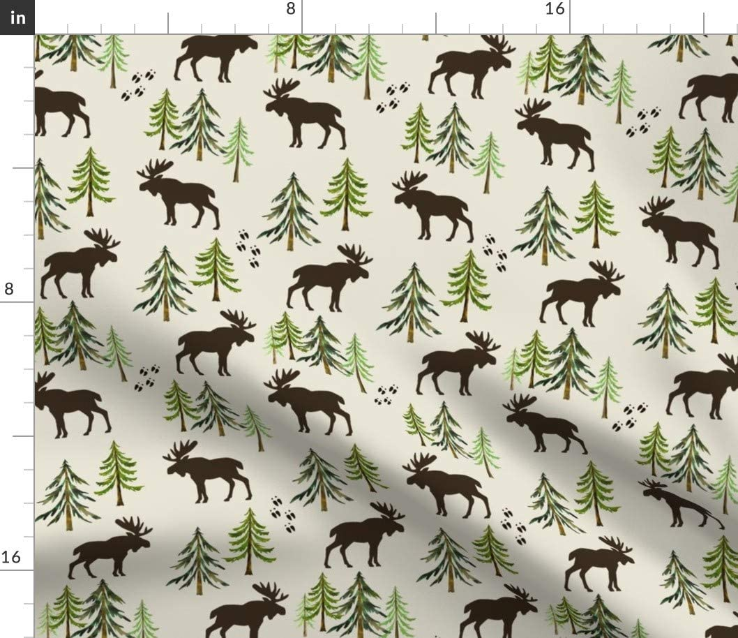 Spoonflower Fabric - Forest バーゲンセール Moose Pine Woodland Trees 格安SALEスタート Tracks Cre