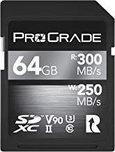 SD Card V90 (64GB) -Up to 250MB/s Write Speed and 300 MB/s Read Speed | for Professional Vloggers, Filmmakers, Photographers & Content Curators -Update Firmware Included - by ProGrade Digital