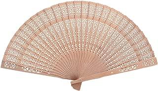 Beyond Dreams Fächer für Sommer | Wanddeko Luftfächer für Damen | Faltbar Hand Fan Handfächer aus Holz | Hochzeit Fasching Japanisch Accessoire | Klein für Handtasche | Natur Bambus | Geschenk