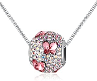 SUE'S SECRET Purple Pink Blue Butterfly Heart Plum Ring Shaped Pendant Necklace Cystal from Swarovski, Women Fashion Jewelry Gifts, Crystal Charm Beads Necklace, Butterfly Round Necklace