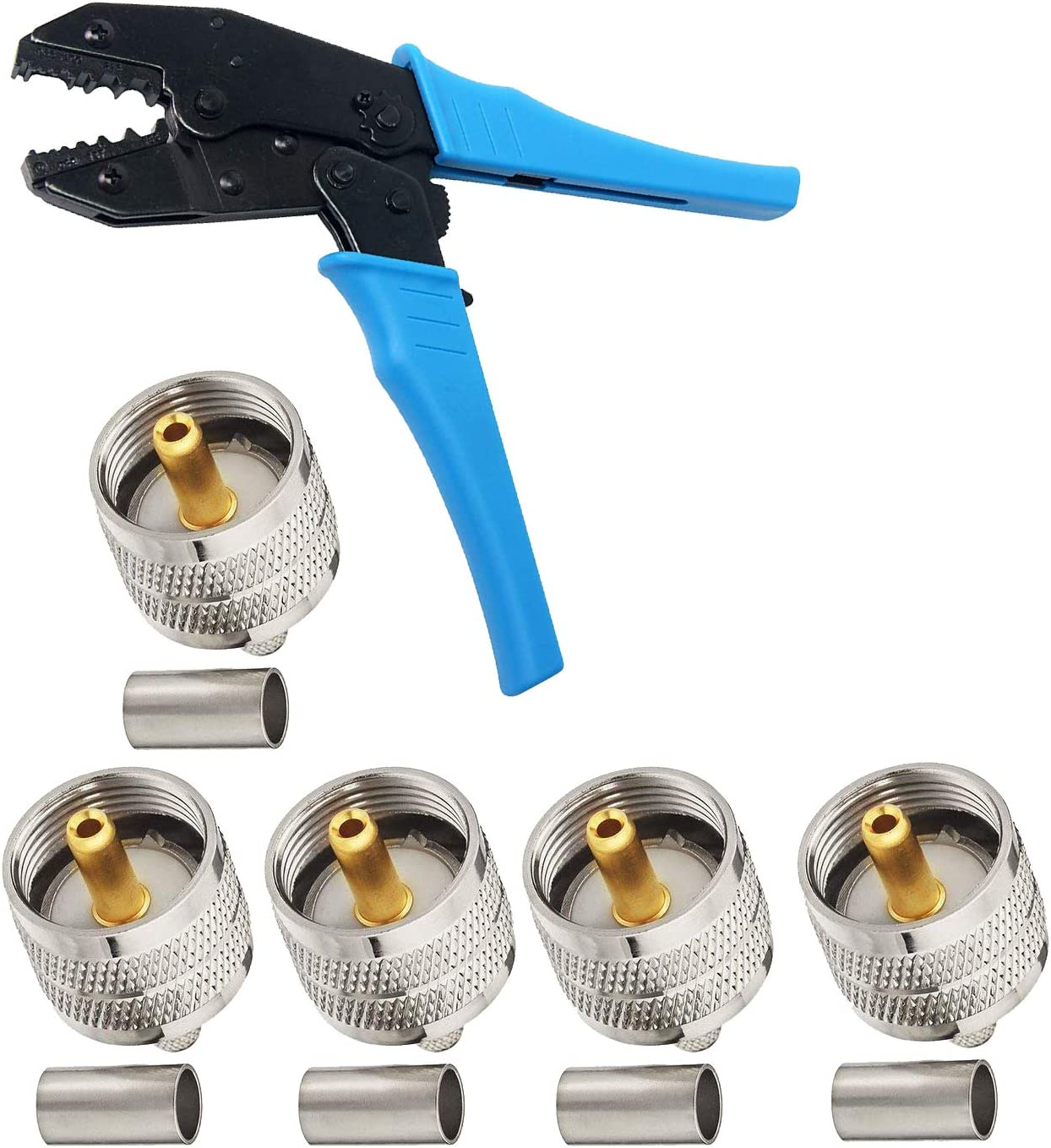 200 59 142 HIFROM Coax RF Connector Crimping Tool with 5pcs BNC Plug Crimp Connectors for RG-58 240 Heavy Duty 8x 62 LMR195 141