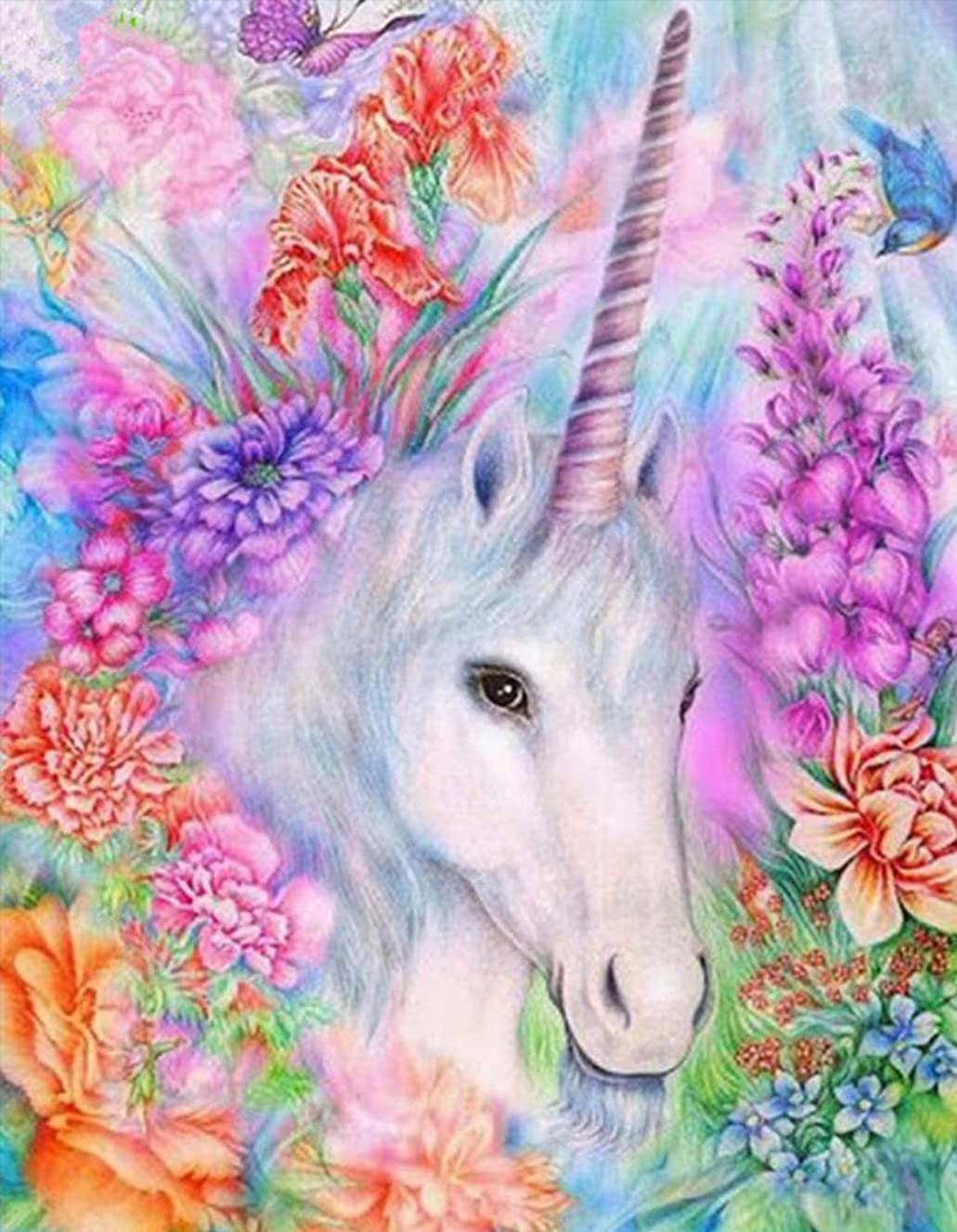 DIY 5D Diamond Painting by Number Kit, Full Drill White Unicorn Embroidery Cross Stitch Arts Craft Canvas Wall Decor 11.8 x 15.8 inch