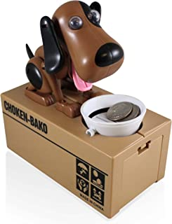 Cute Animal Mechanical Coin Bank For Kids - A Fun, Creative Alternative To Piggy Banks - Realistic Movements and Adorable Designs - Perfect Birthday Presents or Creative Gifts (Dog, Brown Black)