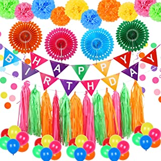 Auihiay 61 Pieces Fiesta Party Decorations Include Hollow Paper Fans, Happy Birthday Banner, Pom Poms Flowers, Circle Dot Garland, Tissue Tassel for Happy Birthday Decorations Mexican Party Decoration