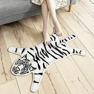 Animal Tiger Shape Cotton Non Slip Bath Rugs and Mats Doormats for Bathroom Sofa Playroom Floor Decorative (White)