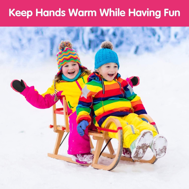 ZOEKIM Snow Mittens Waterproof Ski Gloves Unisex Winter Skiing Mittens for Kids Toddlers