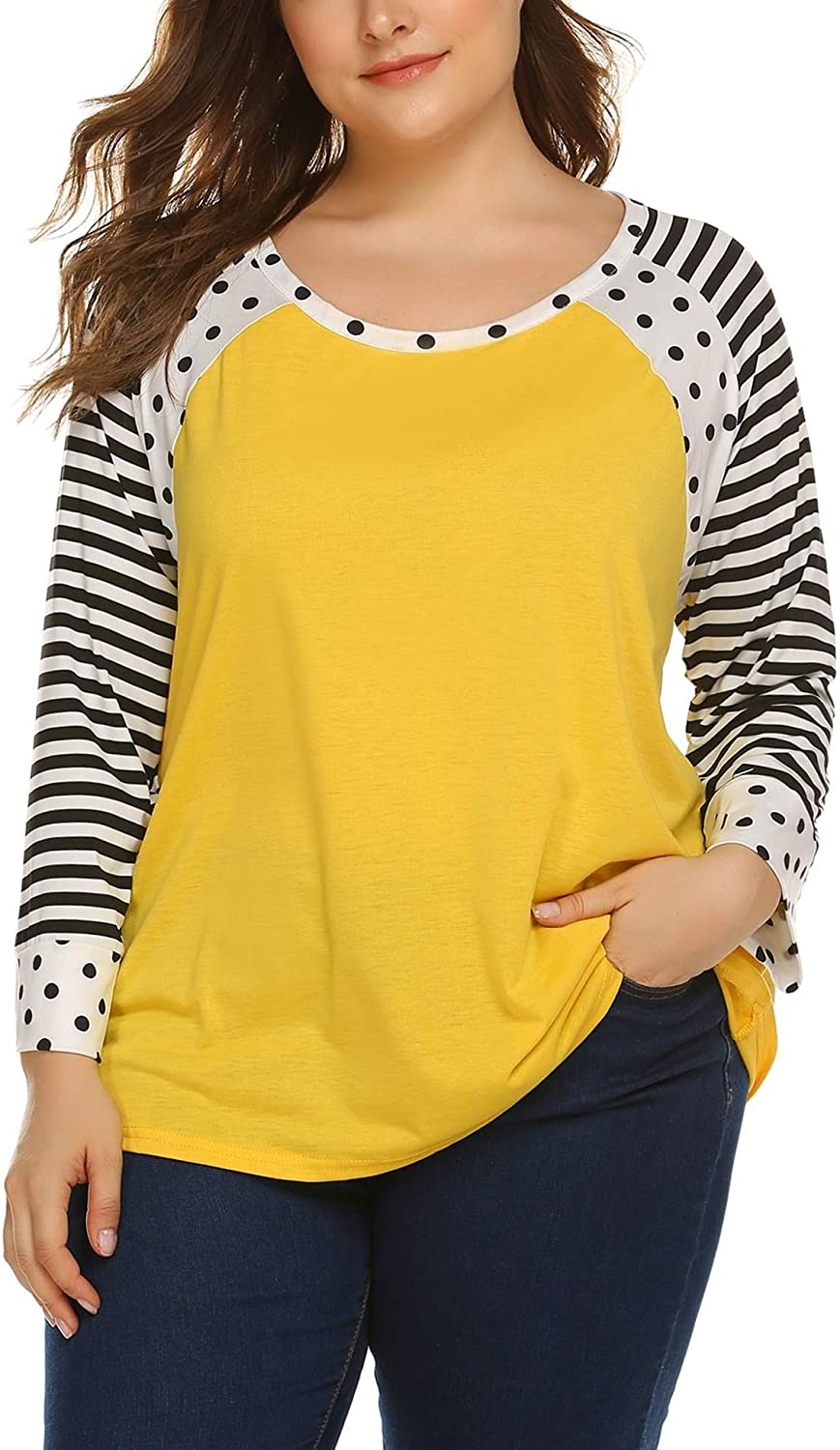 IN'VOLAND Women's Plus Size Raglan Top Striped Baseball T-Shirt 3/4 Sleeve Casual Scoop Neck Tee Tunic