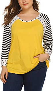 Women's Polka Dots Shirt Plus Size Baseball Tee Shirt 3/4 Sleeve T-Shirt Striped Casual Round Neck Tops