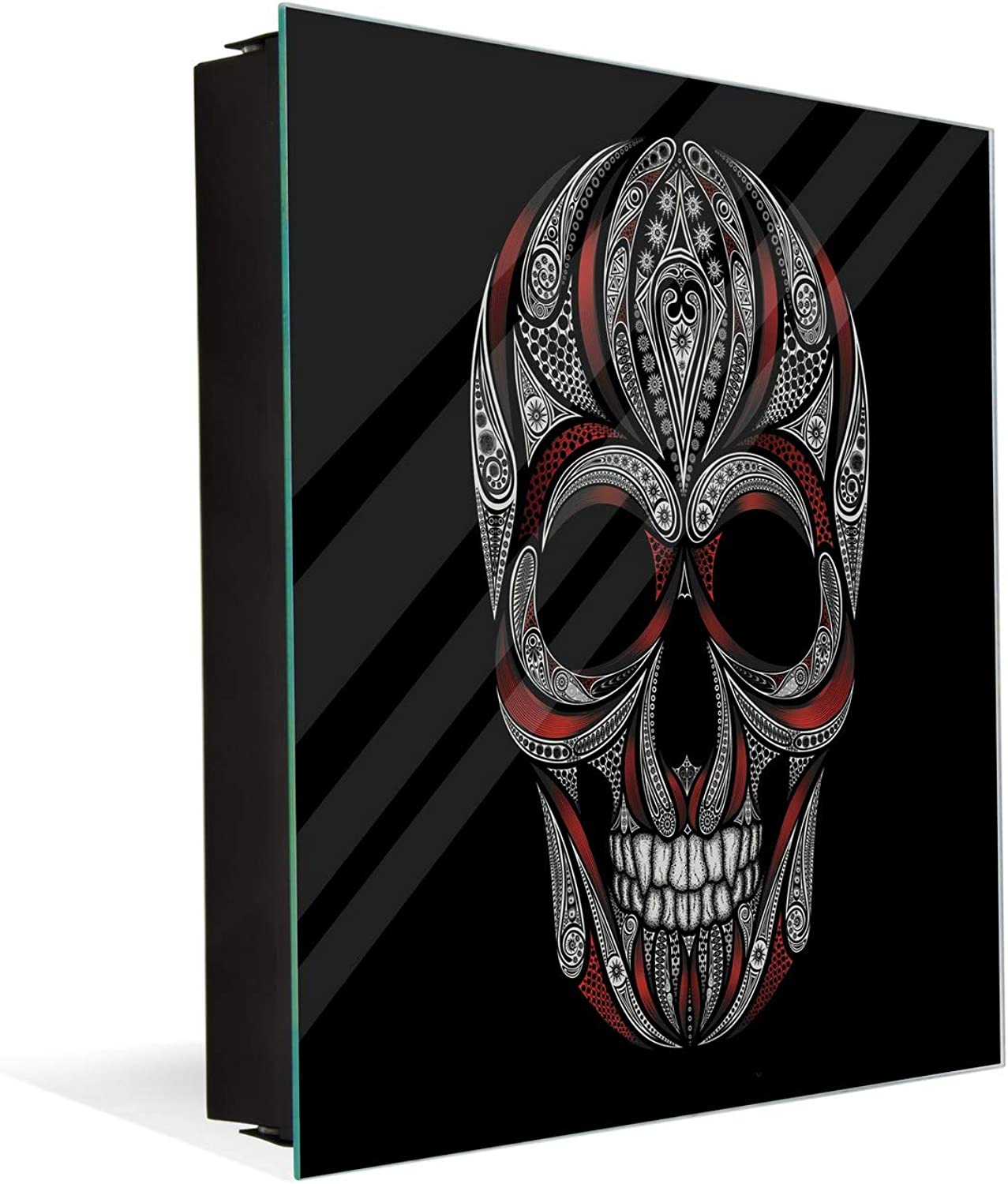 Wall Mount Key Box Together with Decorative Dry Erase Board K12 Skull and Bloody Strips