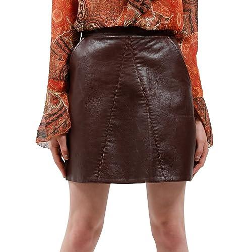 bd201259e9 BELLA PHILOSOPHY Women's Leather Skirt PU Faux High Waist Back Zipper  Pockets