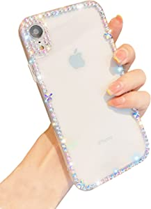 BANAILOA Luxury iPhone XR Case 3D Glitter Sparkle Bling Case Cute Shiny Crystal Rhinestone Diamond Bumper Clear Protective Case Cover Clear for Women Compatible with iPhone XR - 6.1 inch