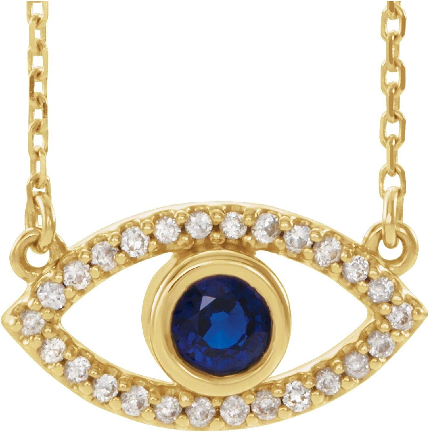 14k Yellow Gold Blue Sapphire White Neck New popularity Direct store 16