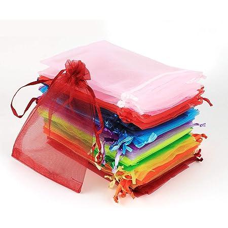 ABSOFINE 100 Pz Sacchetti Regalo in Organza 10x15cm Bustine Colorati Buste Favore Nozze Bomboniere per Matrimonio Festa Gioielli