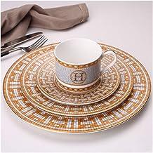 AMAZACER Dinner plate Dinner Plate Set Bone China Coffee Set Tableware Set Plates Coffee Cup Saucer Set Service Plate Dess...