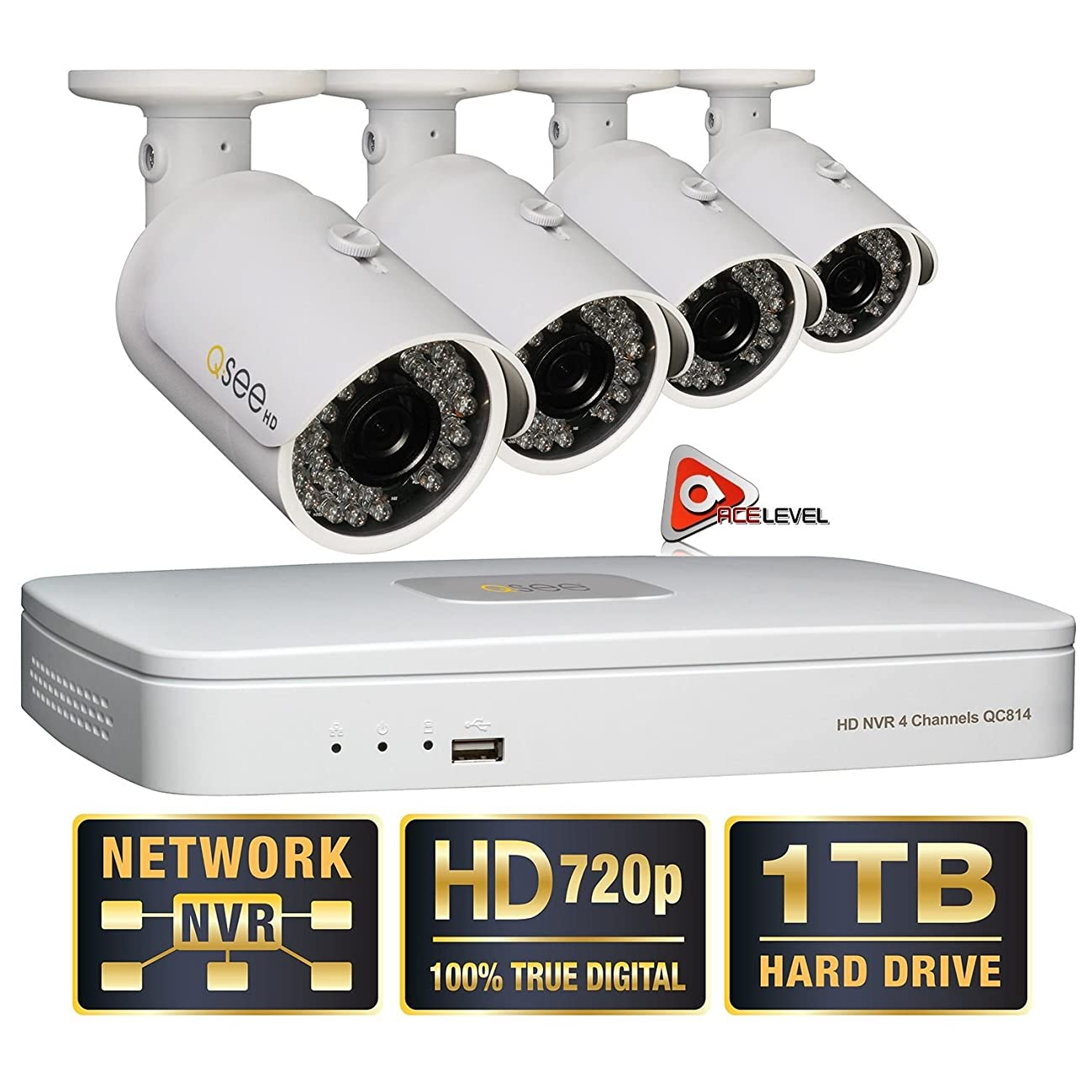 Q-See 4 Channel HD Security System with 1TB Hard Drive, 4 720p IP Cameras 100' feet Night Vision