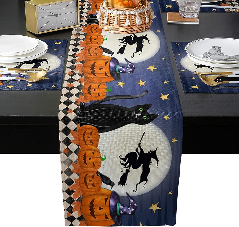 Seven Roses Halloween Pumpkin Black Linen Night Cat OFFicial site supreme Moon Burlap