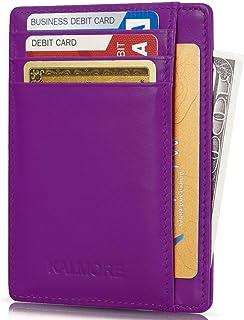 Credit Card Holder Genuine Leather Slim Thin Pocket Wallet Minimalist Wallet Money Clip RFID Blocking