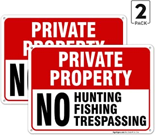 (2 Pack) Private Property Sign, No Hunting No Fishing No Trespassing, 10x14 Rust Free Aluminum, Weather/Fade Resistant, Easy Mounting, Indoor/Outdoor Use, Made in USA by SIGO SIGNS