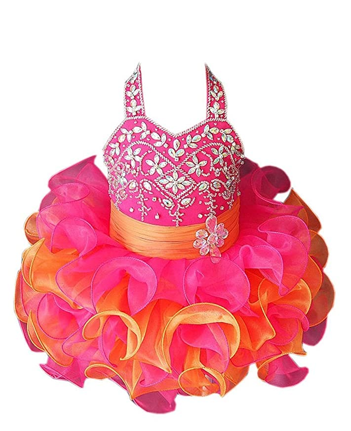 YOGHOURT Baby Girls Halter Shining Glitz Mini Cupcake Gowns Pageant Dresses