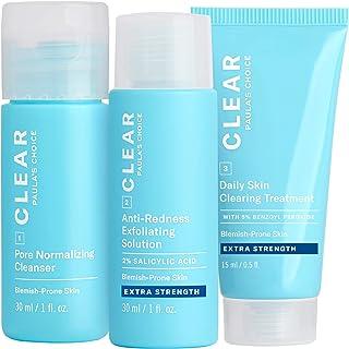 Paula's Choice CLEAR Extra Strength Acne Travel Kit, 2% Salicylic Acid & 5% Benzoyl Peroxide for Severe Acne, Redness Reli...