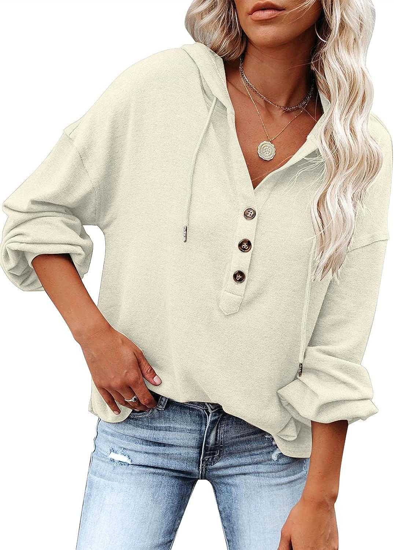 Uqnaivs Women's Long Sleeve Hoodies V Neck Knit Henley Sweatshirts