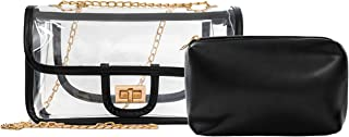 Clear Crossbody Bag for Women,Clear Purse Turn Lock with Chain Messenger Shoulder Handbag Purse for Stadium Approved
