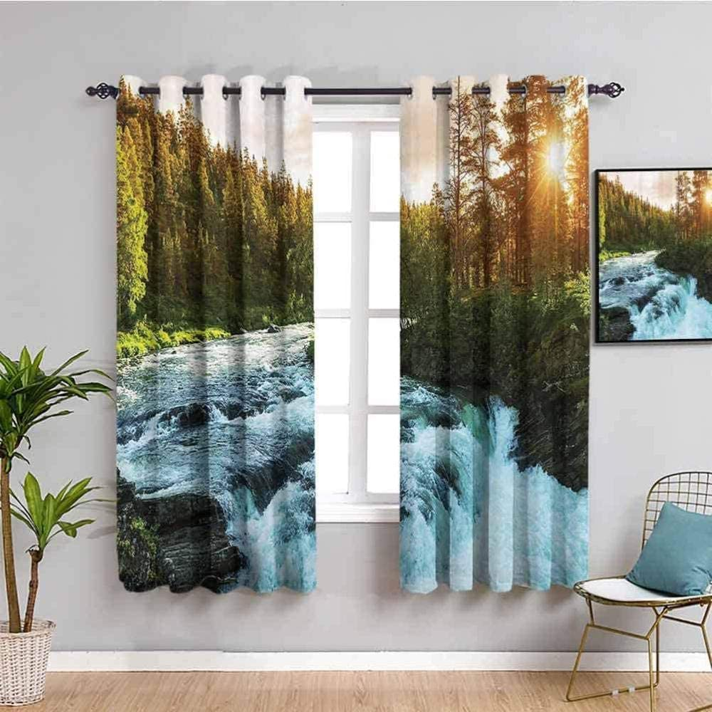 ZLYYH Travel Blackout Max 75% OFF Curtains for Sto Free shipping on posting reviews Jungle Waterfall Sun Baby