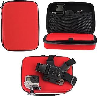 Navitech röd stötsäker actionkamerafodral/skydd för FITFORT actionkamera 4K WiFi Ultra HD vattentät sportkamera 5 cm LCD-s...