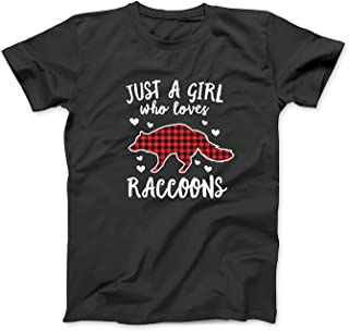 Mint Mama Just A Girl Who Loves Raccoons Buffalo Plaid Premium T-Shirt