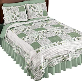 Collections Etc Hadley Floral Patchwork Reversible Lightweight Quilt, Sage, Twin