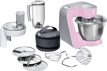 Bosch MUM58K20 CreationLine - Robot de cocina (1000 W, acero inoxidable), 7 accesorios, color rosa palo